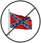 confederate flag with ban marking