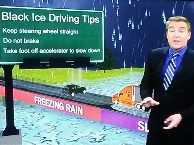 A Corpus Christi weatherman gives winter driving tips on the air.